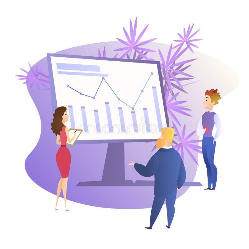 Leute um enormen Monitor mit wachsendem Diagramm stock abbildung