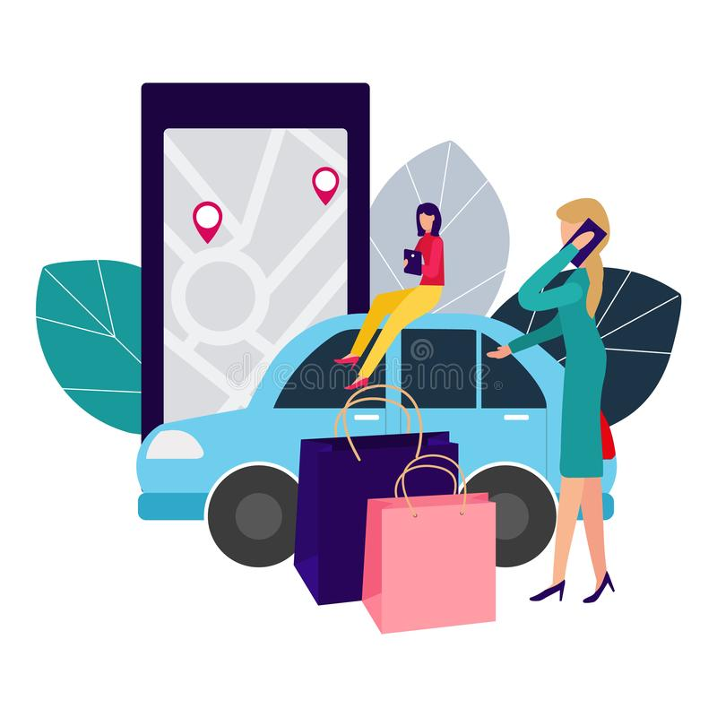 Leute und Auto Abkommen online machen Automiete Vektorillustration in der flachen Art stock abbildung