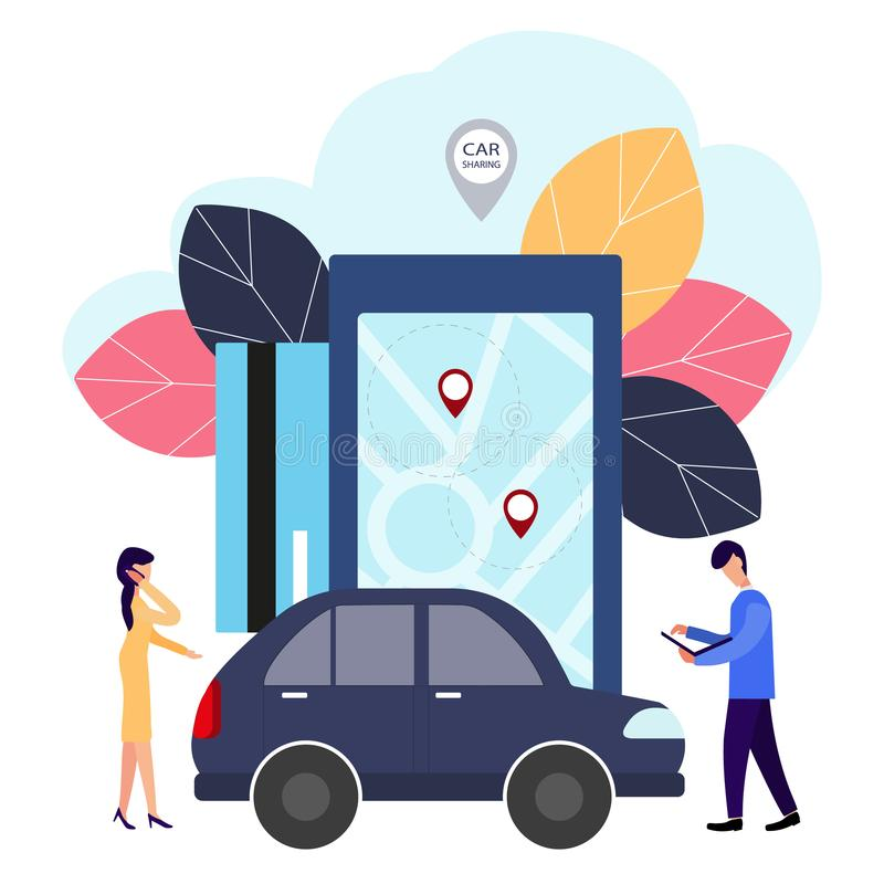 Leute und Auto Abkommen online machen Automiete Vektorillustration in der flachen Art vektor abbildung