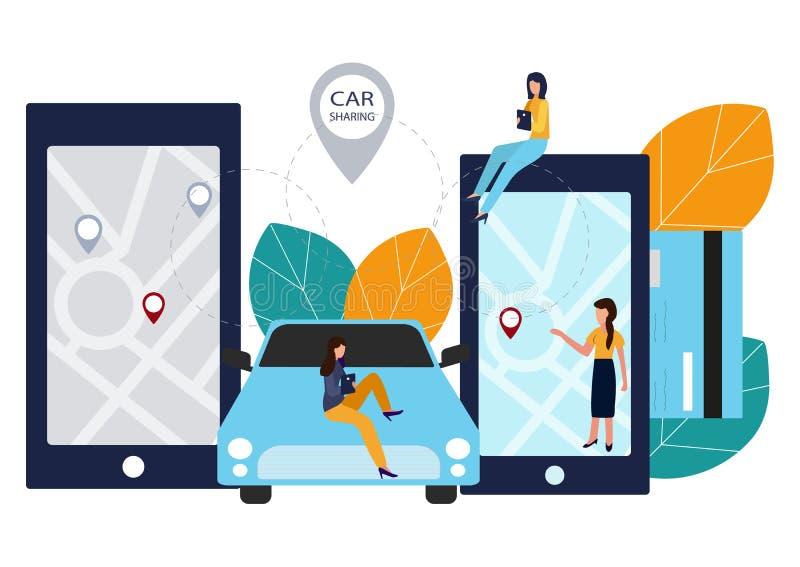 Leute und Auto Abkommen online machen Automiete Vektorillustration in der flachen Art lizenzfreie abbildung