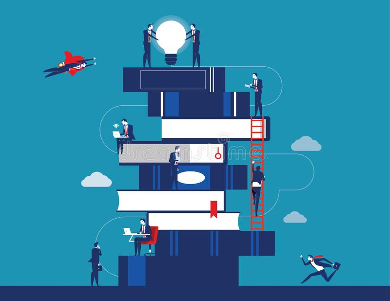 Leute und Buch Gesch?ftsperson f?r das Lernen zum Erfolg Konzeptgesch?fts-Vektorillustration Flaches Charakterdesign stock abbildung