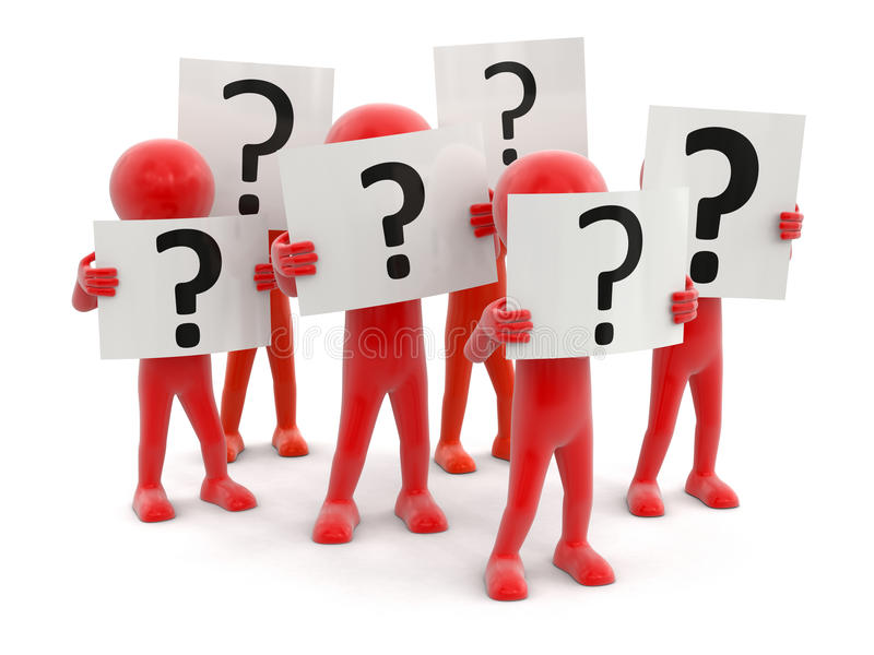 Leute und Fragezeichenzeichen stock abbildung