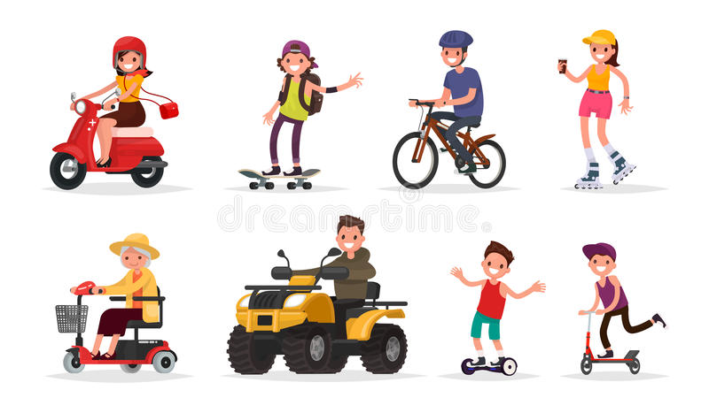 Leute und gedreht: Fahrzeuge, Roller, Skateboard, Fahrrad, Rolle lizenzfreie abbildung