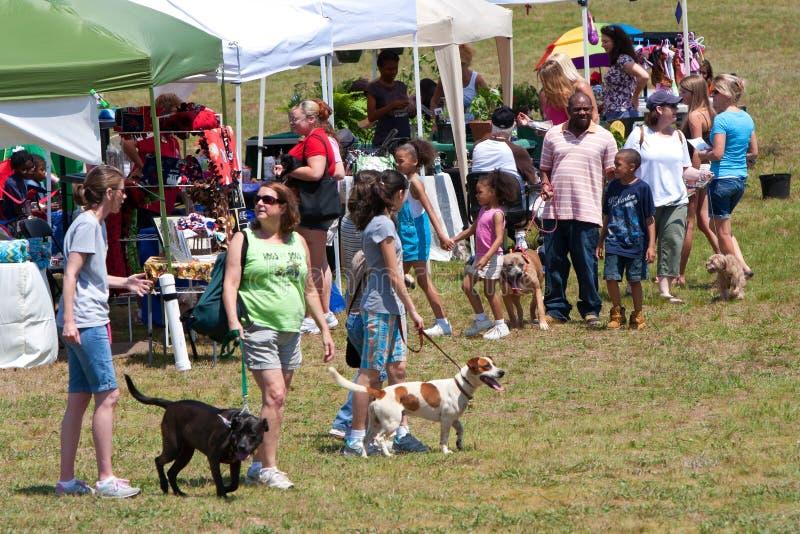 Leute und ihr Hundeweg herum am Hundefestival stockfotos