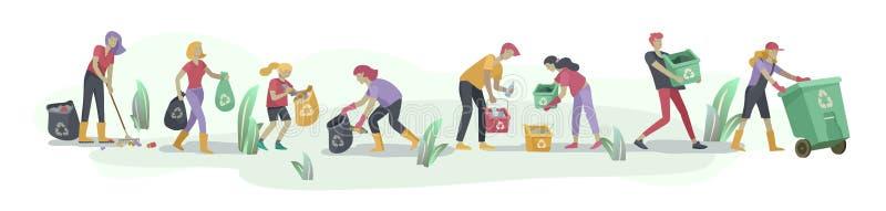 Leute und Kinder bereiten auf, organischen Abfall im unterschiedlichen Behälter zu sortieren, damit Trennung Umwelt-Verschmutzung lizenzfreie abbildung