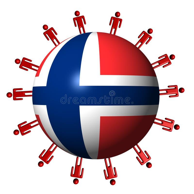Leute und norwegische Markierungsfahnenkugel vektor abbildung