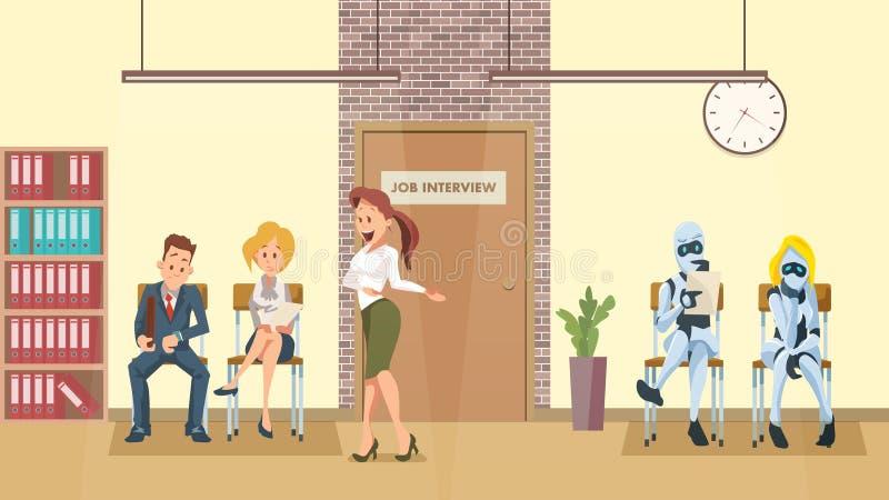 Leute-und Roboter-Reihe an der Tür im Büro-Korridor stock abbildung