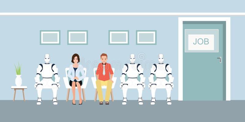 Leute-und Roboter-Reihen-WarteVorstellungsgespräch im Büro vektor abbildung