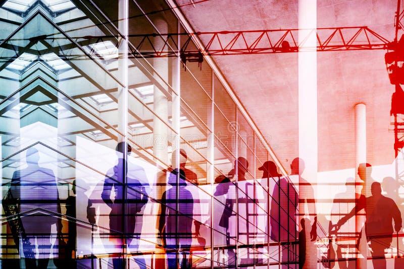 Leute- und Stadtdoppelbelichtung - abstraktes Geschäftskonzept stockfotografie