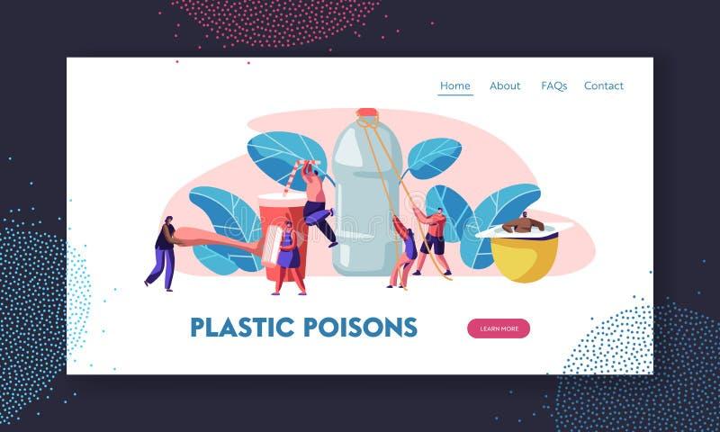 Leute unter Verwendung der Plastiksachen im üblichen Leben Menschliche verbrauchende Produkte Verringern Sie, Konzept zu verpacke lizenzfreie abbildung