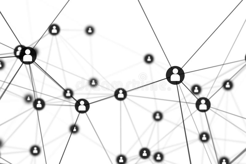 Leute-Verbindung zeichnet auf weißem Hintergrund, Soziales Netz stock abbildung