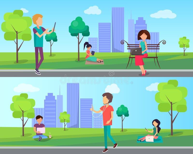 Leute verbringen Zeit im Stadt-Park mit Computer lizenzfreie abbildung