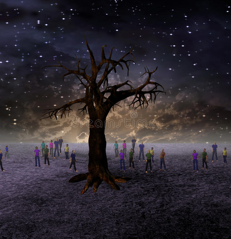 Leute-Versammlung um großen Baum lizenzfreie abbildung