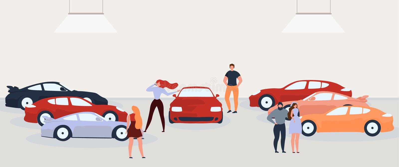Leute-wählendes und kaufendes Auto flaches Vektor-Konzept stock abbildung