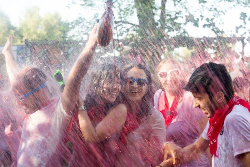 Leute während Haro Wine Festivals stockfotos