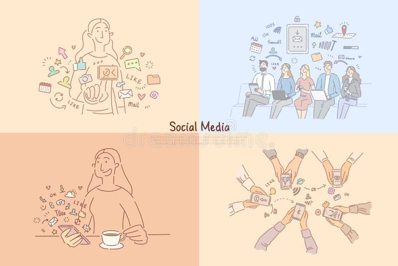 Leute, welche die Social Media-Netze, online plaudernd, Ablauforganisations-Software, digitale vermarktende Fahne verwenden vektor abbildung