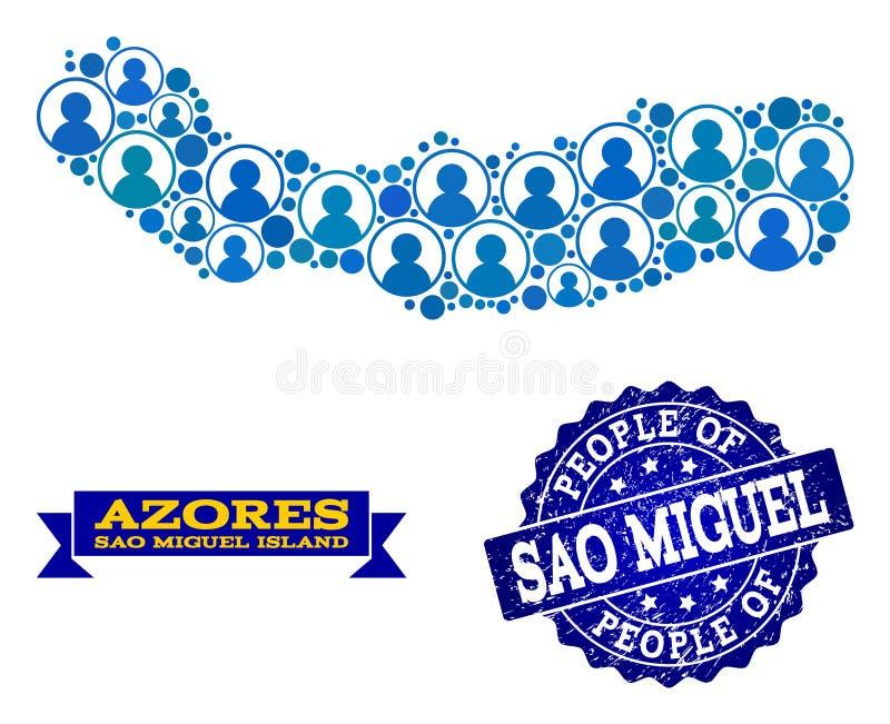 Leute-Zusammensetzung der Mosaik-Karte von Sao Miguel Island und von verkratztem Siegelstempel lizenzfreie abbildung