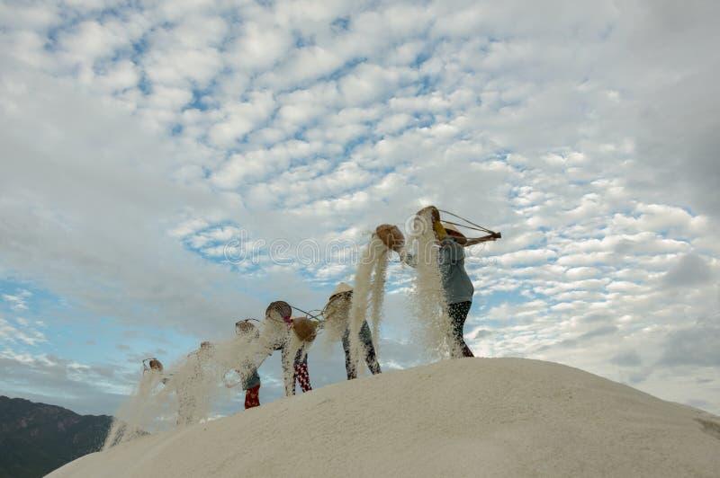 Leutearbeit in der Salzproduktion lizenzfreie stockfotos