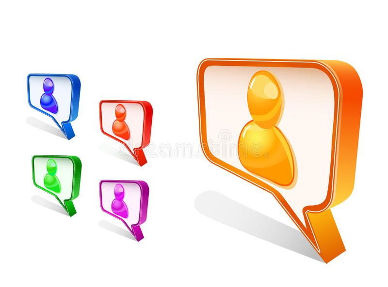 Leuteavatara im Schwätzchenzeichen-Ikonenset lizenzfreie abbildung