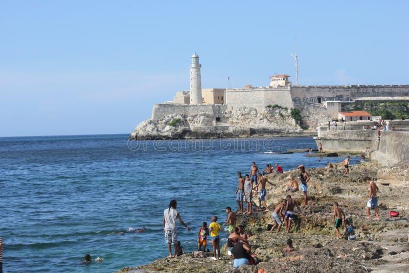 Leutebaden und das Schloss der königlichen Kraft, Havana lizenzfreies stockbild