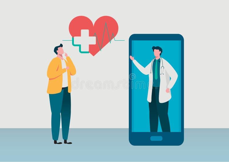 Leuteberatung zum Doktor On-line-Diagnose On-line-Krankenhausgesundheitswesenkonzept, Ärzteteam Gesunde Anwendung lizenzfreie abbildung