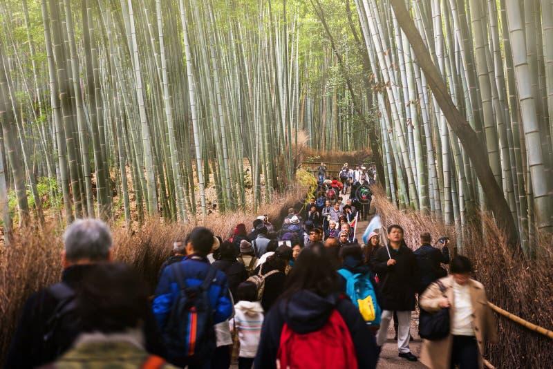Leutebesuchs-Bambuswaldung, Arashiyama lizenzfreie stockfotografie