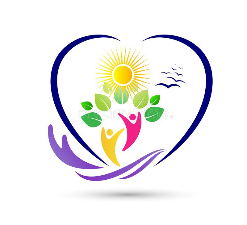 Leuteblatt-Logoentwurf der Natursorgfaltabwehrlandwirtschaft gesunder Athletisch, Balance Umwelt Wellnesslogo vektor abbildung