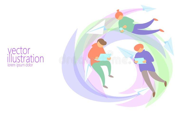 Leutechat-Mitteilungs-on-line-Konzept Netz-Fliegennetz des verschiedenen Mannes surfendes Flache Internet-Tablettenpostpapierbuch vektor abbildung