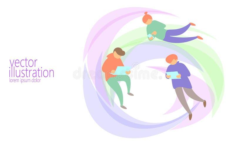 Leutechat-Mitteilungs-on-line-Konzept Netz-Fliegennetz des verschiedenen Mannes surfendes Internet-Diskussionstabletten-Postbuchs stock abbildung