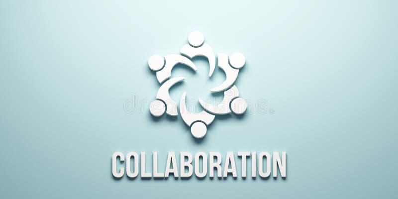 Leutegemeinschaftszusammenarbeit 3d übertragen Abbildung lizenzfreie abbildung