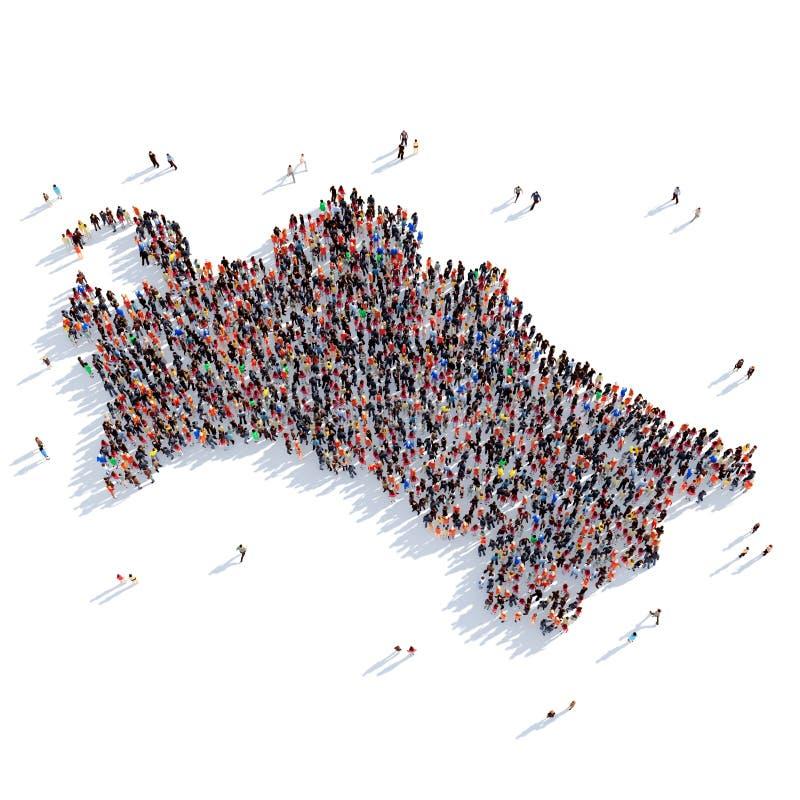 Leutegruppen-Formkarte Turkmenistan stockbild