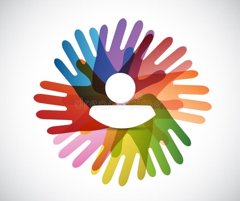 Leutehände und Avataraillustrationsdesign lizenzfreie abbildung
