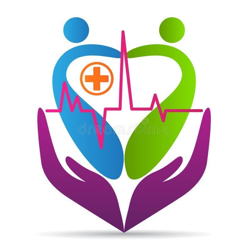 Leuteherzsorgfaltlogo Wellnessgesundheitswesenliebeskrankenhaussymbolvektor-Ikonendesign lizenzfreie abbildung