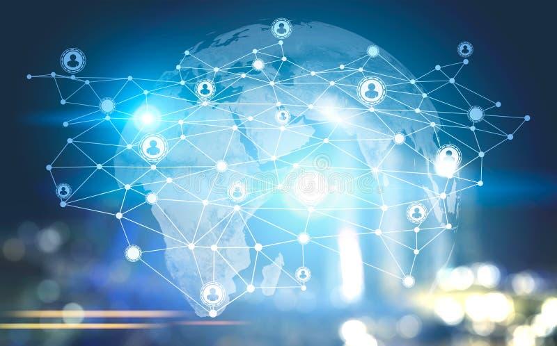 Leutehologramm des globalen Netzwerks, Nachtstadt vektor abbildung