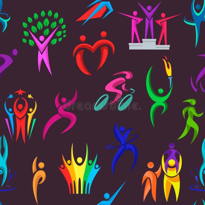 Leuteikonenillustration des Leutelogosportvektoreignungsfirmenzeichensportlersiegers und -wettbewerbs menschliche lokalisiert vektor abbildung