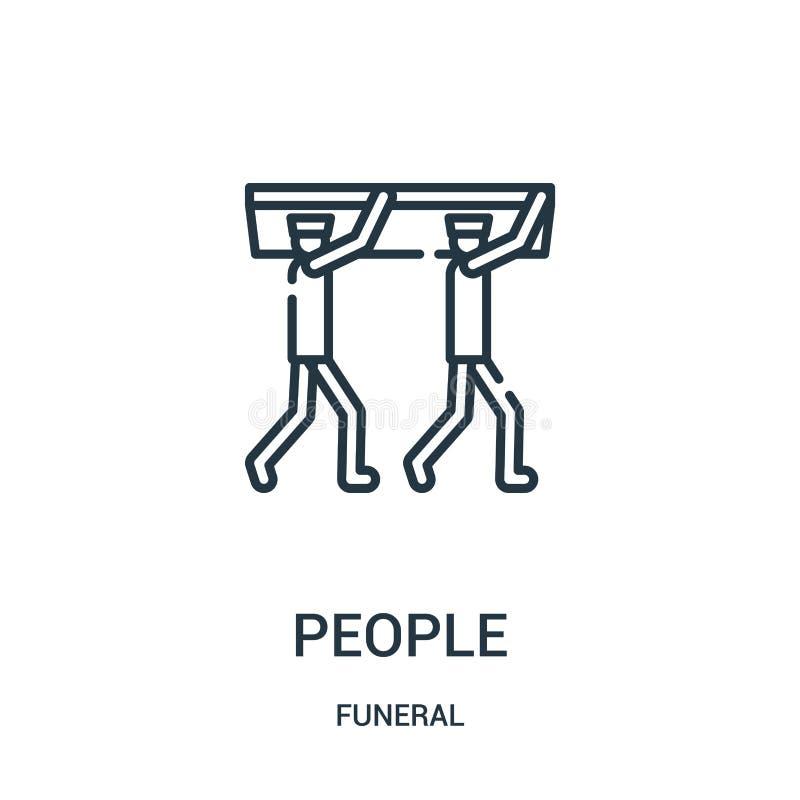 Leuteikonenvektor von der Begräbnis- Sammlung Dünne Linie Leuteentwurfsikonen-Vektorillustration Lineares Symbol für Gebrauch auf stock abbildung