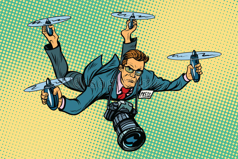 Leutejournalist quadcopter Brummen stock abbildung