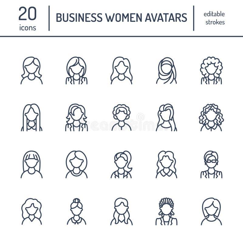 Leutelinie Ikonen, Geschäftsfrauavataras Umreißen Sie Symbole von Frauenberufen, Sekretär, Manager, Lehrer, Student stock abbildung