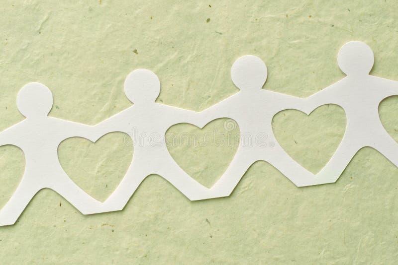 Leutepapierkette - Liebes- und Ökologiekonzept lizenzfreie abbildung