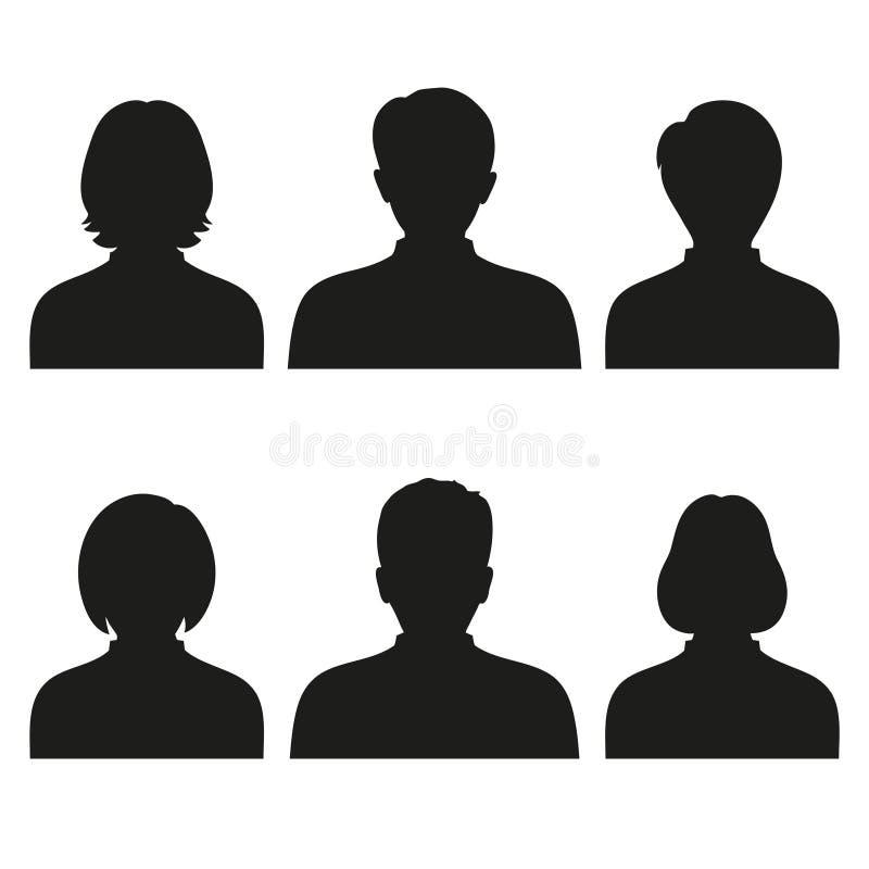 Leuteporträts, Frau und Manneshauptschattenbildavatara, Profil lizenzfreie abbildung