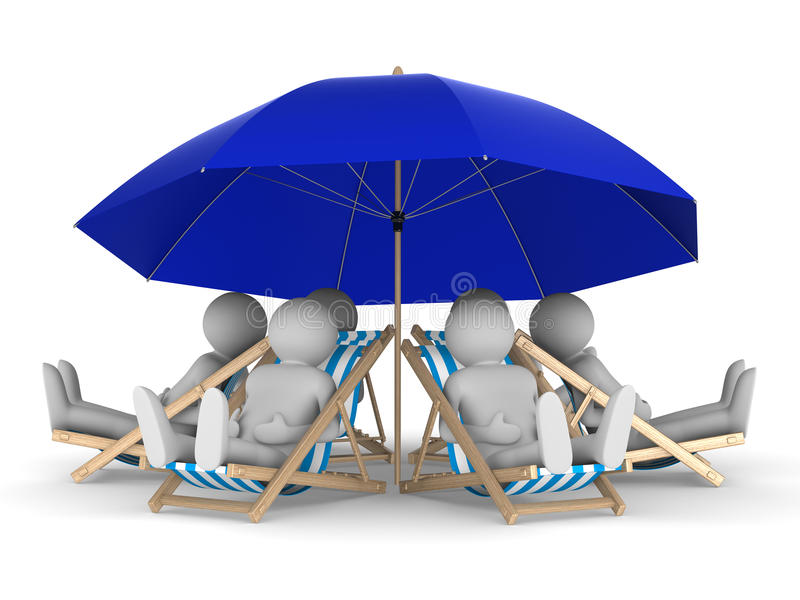 Leuterest unter Sonnenschirm. Getrenntes 3D lizenzfreie abbildung