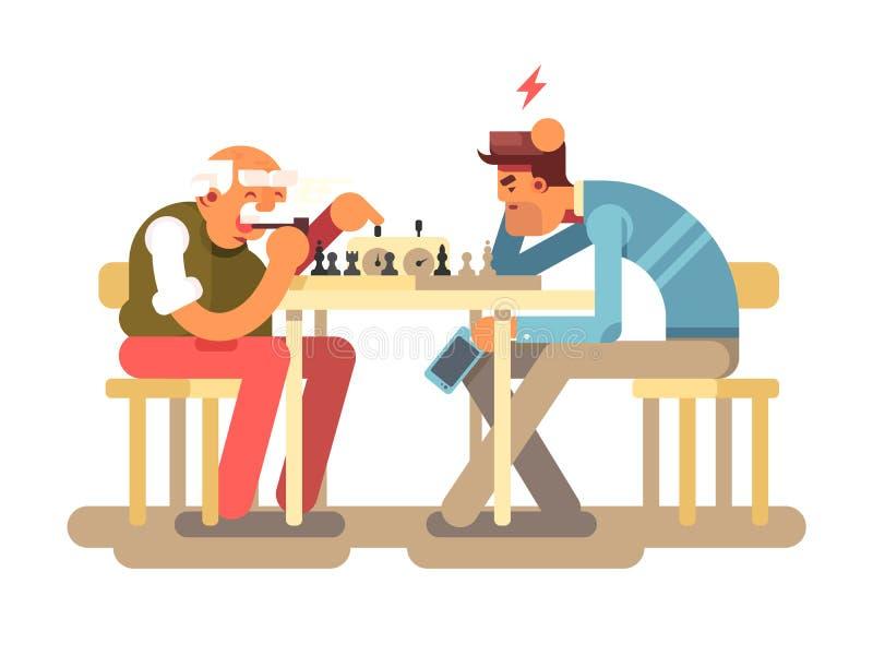 Leutespiel-Schachspiel lizenzfreie abbildung