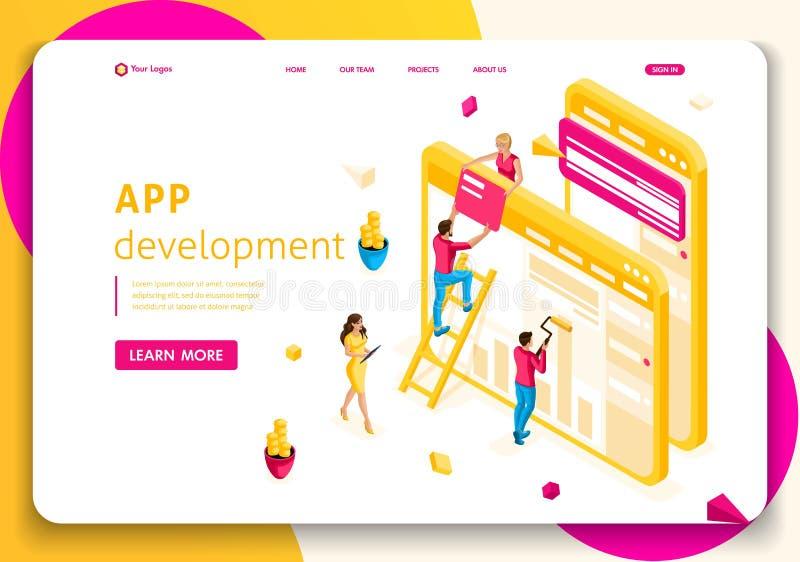 Leuteteamzusammenarbeitung Konzept der Website-Schablonen-Landungsseite isometrisches in der Netzindustrie APP-Entwicklung stock abbildung