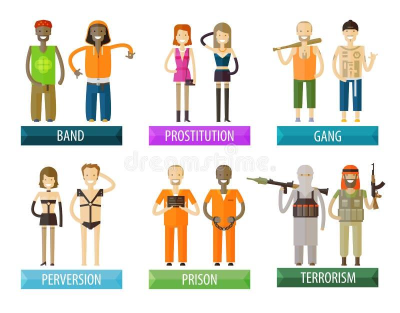Leutevektorlogo-Designschablone Gruppe, kriminell lizenzfreie abbildung