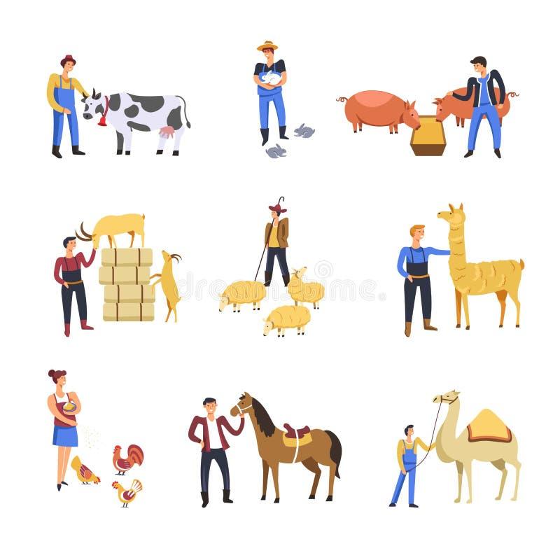 Leutezuchtrindertiere Vektorlandwirtmann und -frau ziehen Kuh, Kaninchen oder Schwein und Schafe oder Ziege mit Lama ein lizenzfreie abbildung