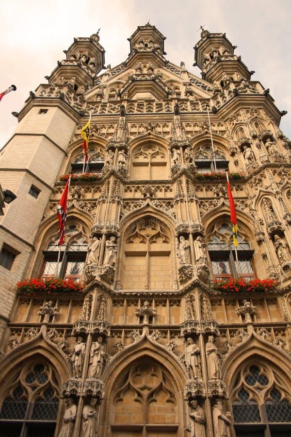 Leuven (Belgium). A facade of the gothic city hall in Leuven (Belgium stock photo