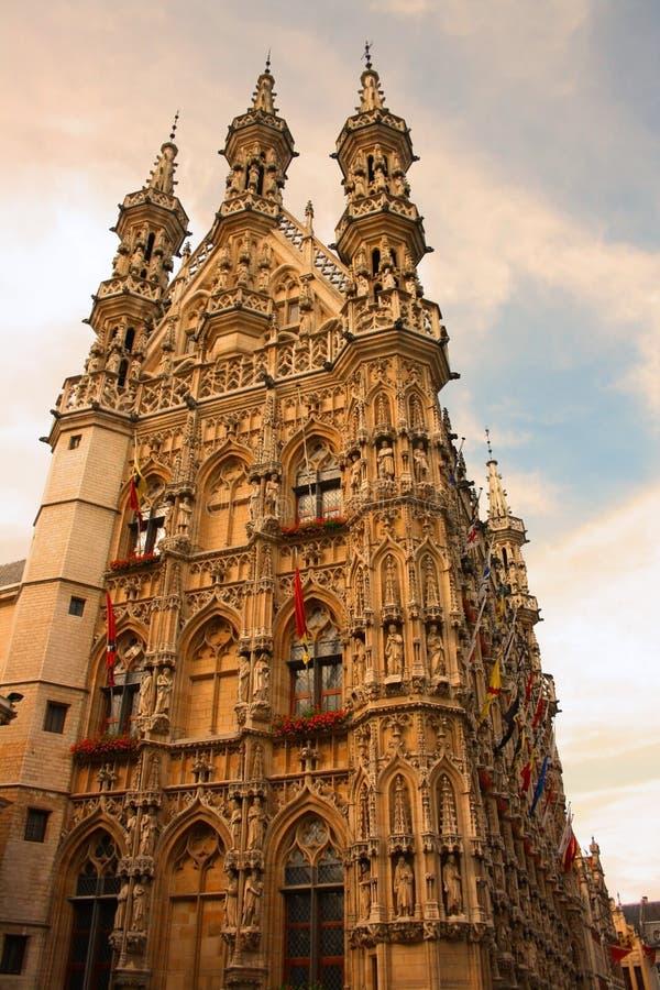 Leuven (Belgium). A facade of the gothic city hall in Leuven (Belgium royalty free stock photography