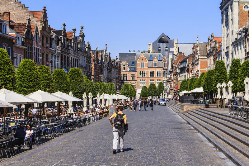 Leuven, Belgium. The historic center of Leuven. Belgium. Here the old market with students on the terraces stock photography