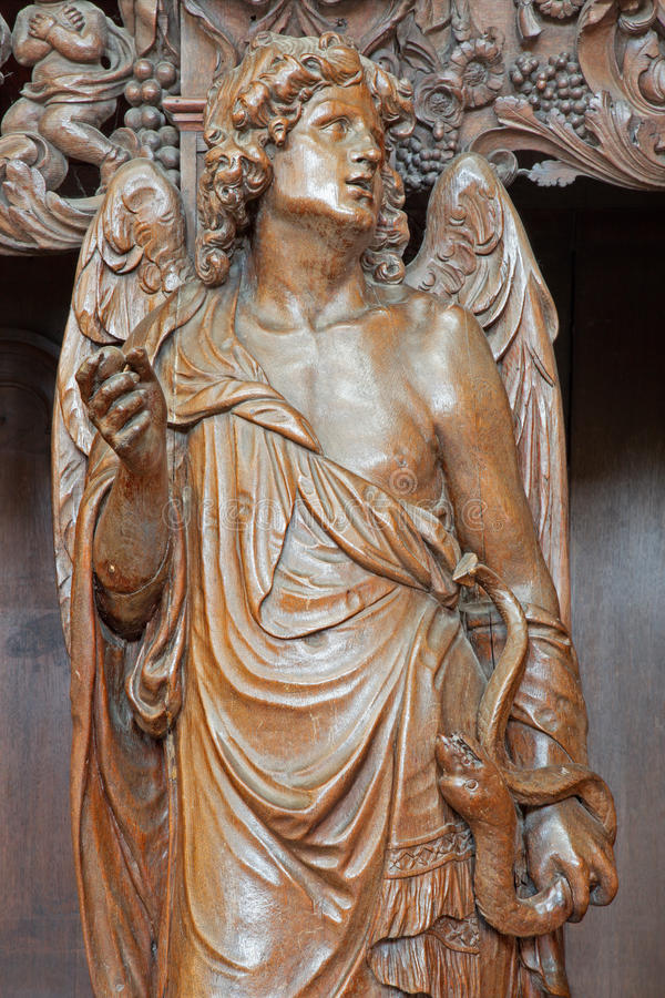Leuven - Carved angel as symbol of virtuousness  form St. Michaels church (Michelskerk)