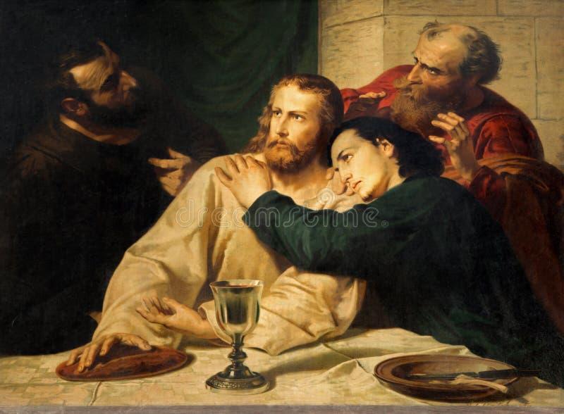 Leuven - Exemplaar van verfscène met Jesus en st. John bij Laatste avondmaal   stock afbeeldingen